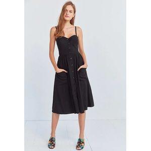 Emilia Black Linen Button Down Midi Dress
